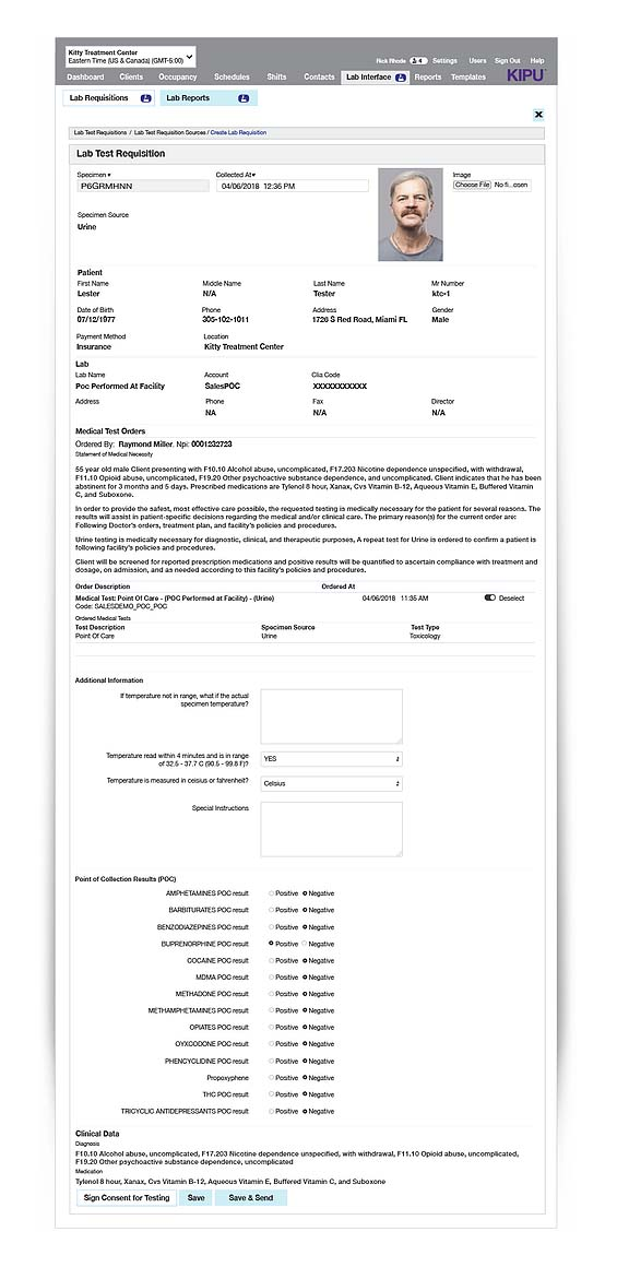 point of care drug screening interface